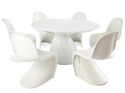 Image of the design furniture Dining table Parabol and 6 chairs