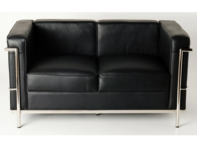 Image of the design furniture LC2 Le Corbusier 2 Seater  - Black