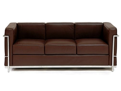 Image of the design furniture LC2 Le Corbusier 3 seater - Brown