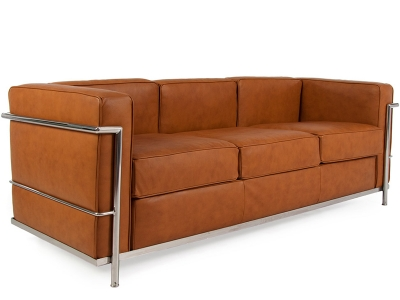 Image of the design furniture LC2 Le Corbusier 3 seater - Tan