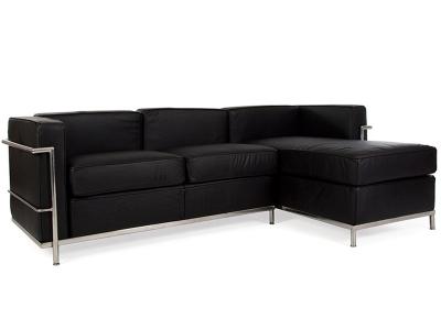Image of the design furniture LC2 Le Corbusier corner sofa - Black
