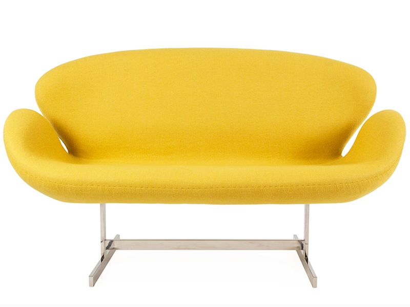 Image of the design lounge Swan 2 seater Arne Jacobsen - Yellow