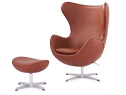 Image of the design lounge Egg Chair & Ottoman Arne Jacobsen - Cognac