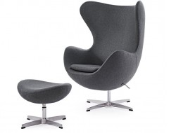 Image of the design lounge Egg Chair & Ottoman Arne Jacobsen - Grey