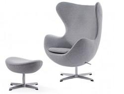 Image of the design lounge Egg Chair & Ottoman Arne Jacobsen - Light grey
