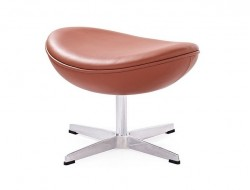 Image of the design lounge Egg Ottoman Arne Jacobsen - Cognac