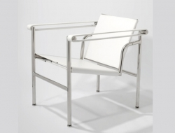 Image of the design lounge LC1 chair Le Corbusier - White