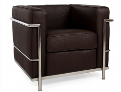 Image of the design lounge LC2 Chair Le Corbusier - Darkbrown
