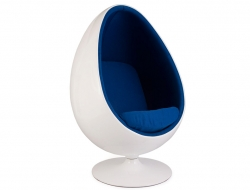 Image of the design lounge Ovale Egg chair - Blue