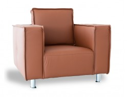 Image of the design lounge Poleric armchair - caramel leather