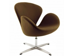 Image of the design lounge Swan chair Arne Jacobsen - Chocolate brown