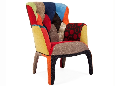 Image of the design lounge Arm Chair Henry - Upholstered Patchwork