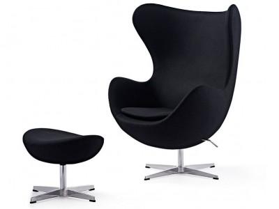Image of the design lounge Egg Chair & Ottoman Arne Jacobsen - Black