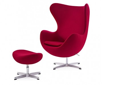 Image of the design lounge Egg Chair & Ottoman Arne Jacobsen - Red