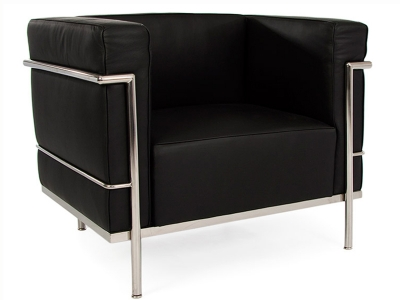 Image of the design lounge  LC2  Chair Large Le Corbusier - Black