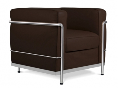 Image of the design lounge LC2 Chair Le Corbusier-Darkbrown