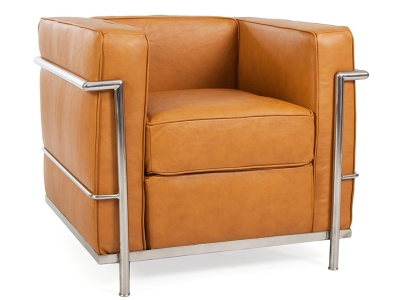 Image of the design lounge LC2 Chair Le Corbusier - Tan