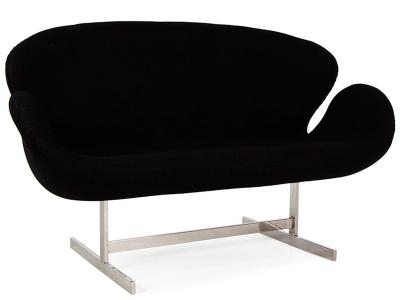 Image of the design lounge Swan 2 seater Arne Jacobsen - Black