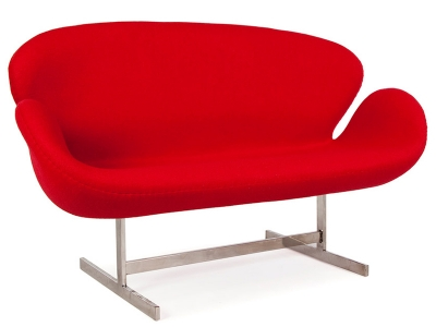 Image of the design lounge Swan 2 seater Arne Jacobsen - Red