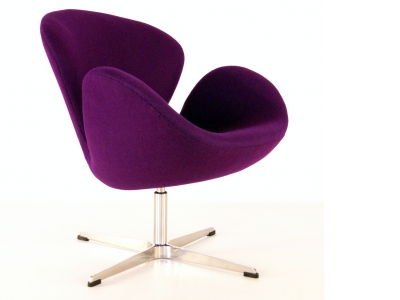 Image of the design lounge Swan chair Arne Jacobsen - Purple