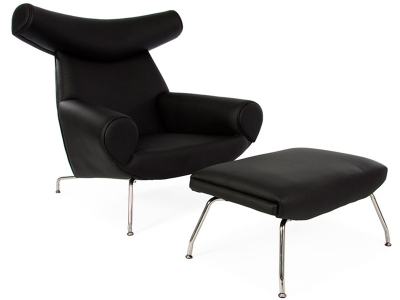 Image of the design lounge Wegner Ox chair - Black