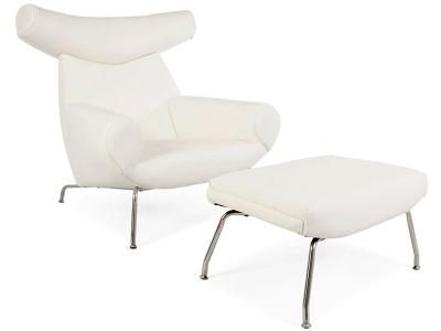 Image of the design lounge Wegner Ox chair - White