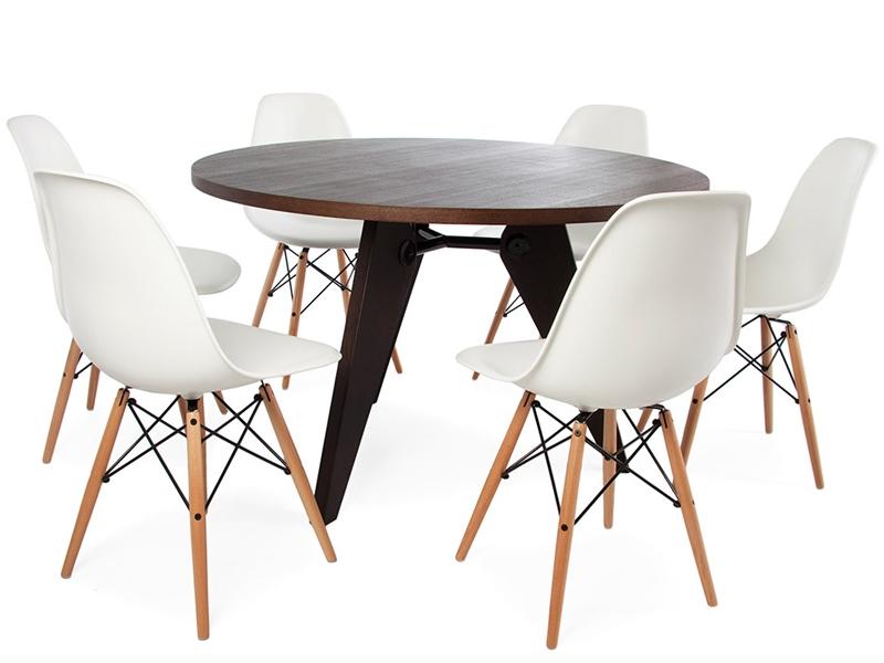 e tisch prouv rund mit 6 st hlen. Black Bedroom Furniture Sets. Home Design Ideas
