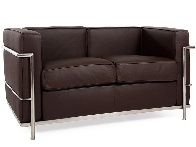lc2 2 sitzer le corbusier braun. Black Bedroom Furniture Sets. Home Design Ideas