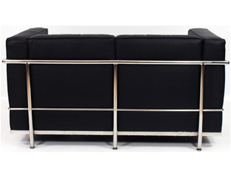 lc2 2 sitzer le corbusier in schwarz als reproduktion. Black Bedroom Furniture Sets. Home Design Ideas
