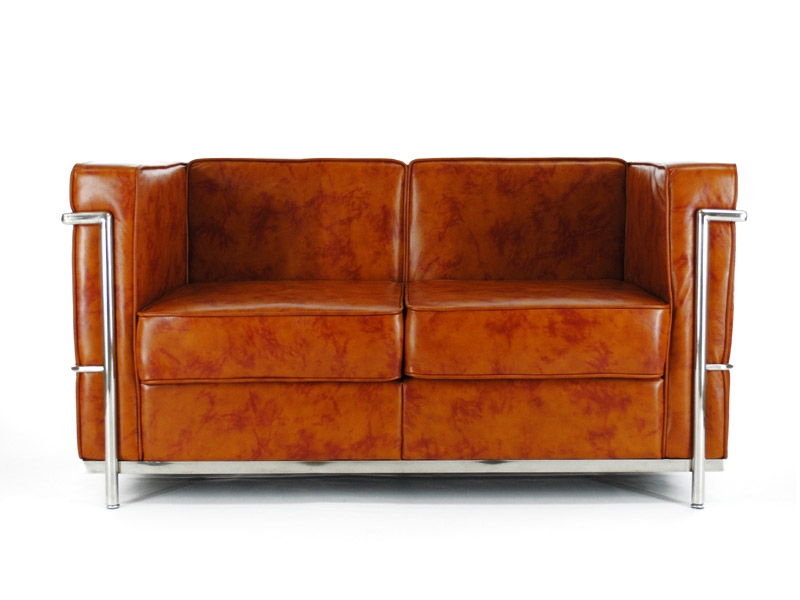 lc2 2 sitzer le corbusier karamell. Black Bedroom Furniture Sets. Home Design Ideas
