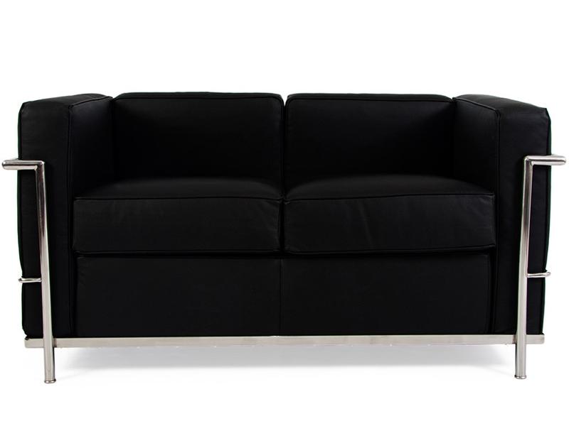 lc2 2 sitzer le corbusier schwarz. Black Bedroom Furniture Sets. Home Design Ideas
