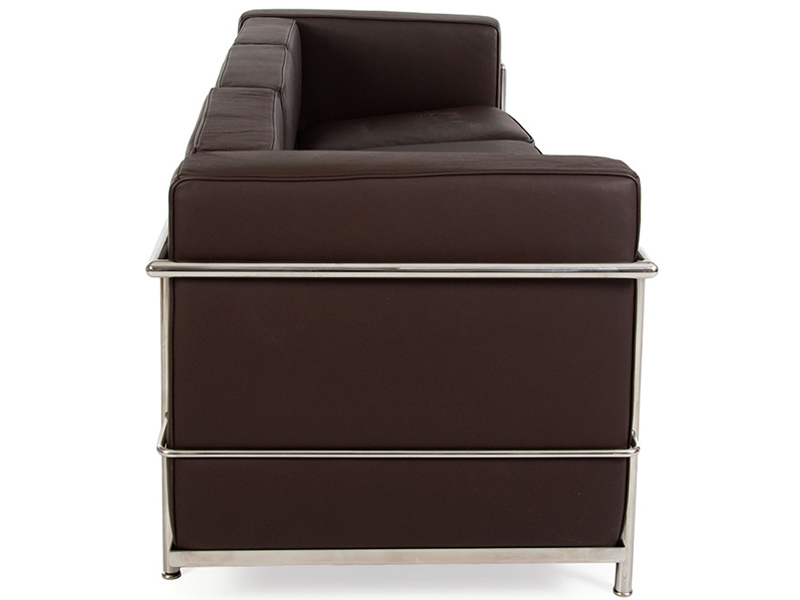 lc2 3 sitzer le corbusier braun. Black Bedroom Furniture Sets. Home Design Ideas