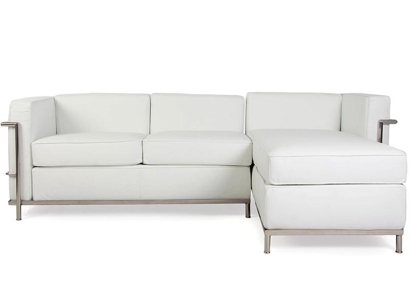 lc2 ecksofa le corbusier wei. Black Bedroom Furniture Sets. Home Design Ideas