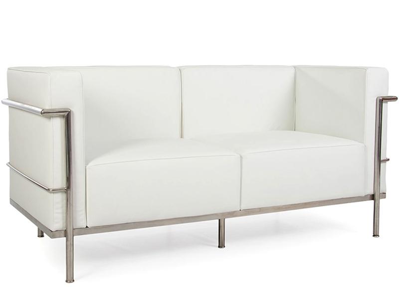 Bild Designer-Möbel LC2 Le Corbusier 2 Sitzer Breit-Weiß