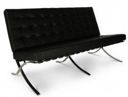Bild Designer-Möbel Barcelona Sofa 2 Sitzer - Schwarz