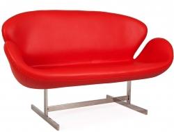 Bild Designer-Möbel Swan AJ 2 Sitzer Leder - Rot