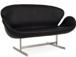 Bild Designer-Möbel Swan AJ 2 Sitzer Leder - Schwarz