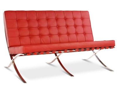Bild Designer-Möbel Barcelona Sofa 2 Sitzer - Rot