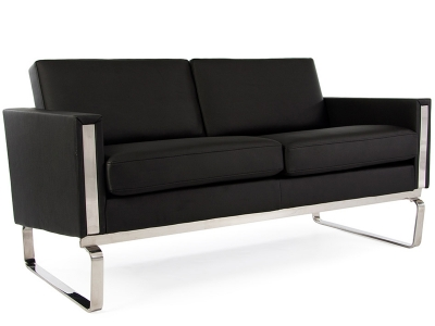 lc2 3 sitzer le corbusier schwarz. Black Bedroom Furniture Sets. Home Design Ideas