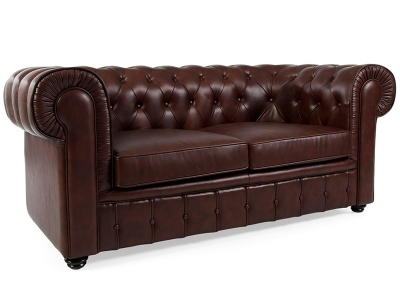 Bild Designer-Möbel Chesterfield Sofa 2 Sitzer- Braun