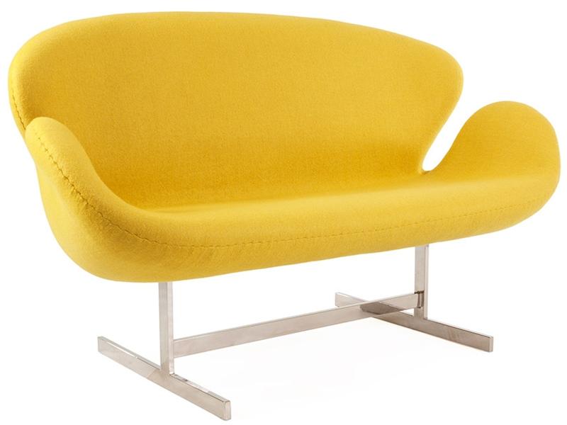 Bild von Stuhl-Design Swan 2 Sitzer Arne Jacobsen - Gelb