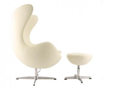 Bild von Stuhl-Design Egg Chair & Ottoman AJ - Cremeweiß
