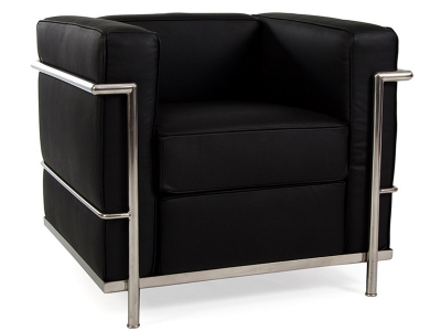lc2 3 sitzer le corbusier schwarz. Black Bedroom Furniture Sets. Home Design Ideas