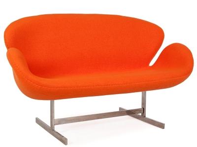 Bild von Stuhl-Design Swan 2 Sitzer Arne Jacobsen - Orange