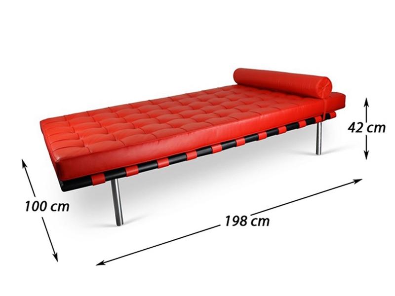 Bild von Stuhl-Design Barcelona Liege 198 cm - Rot