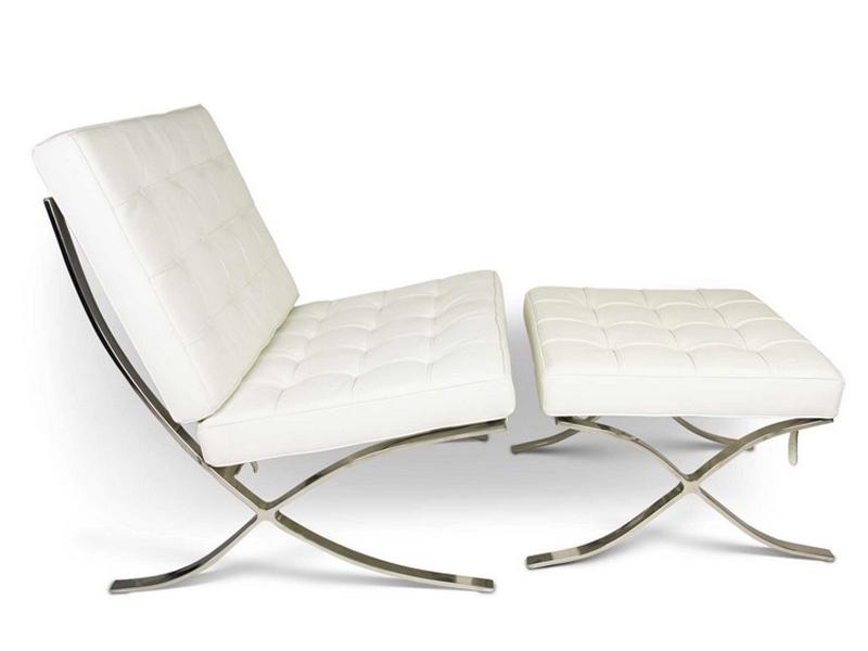 Bild von Stuhl-Design Barcelona Sessel & Ottoman - Schneeweiß