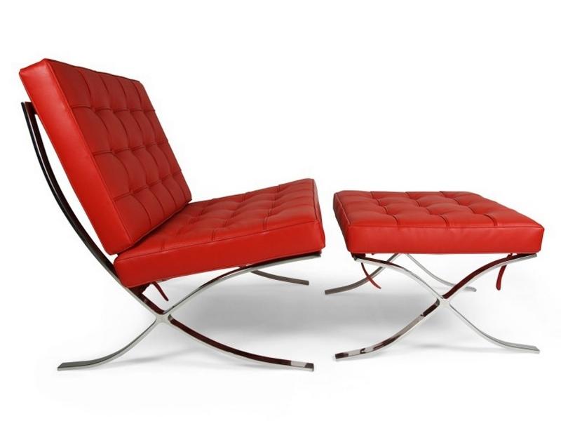 barcelona sessel und ottoman rot. Black Bedroom Furniture Sets. Home Design Ideas