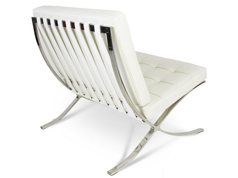 Bild von Stuhl-Design Barcelona Sessel und ottoman - Weiß Creme