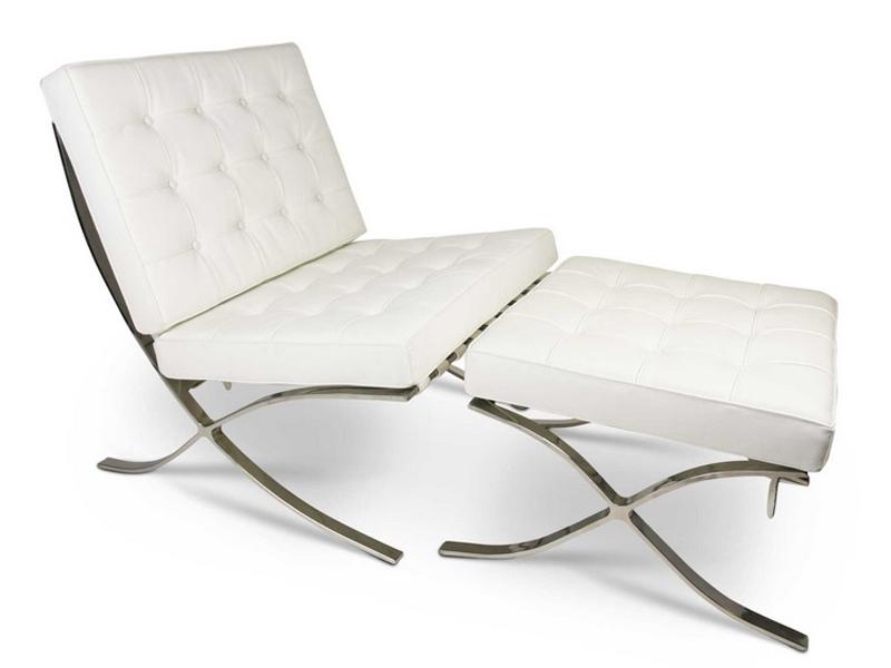 barcelona sessel und ottoman wei. Black Bedroom Furniture Sets. Home Design Ideas