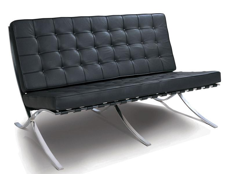 barcelona sofa 2 sitzer schwarz. Black Bedroom Furniture Sets. Home Design Ideas